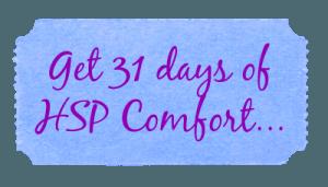 31 days hsp comfort button blue purple cursive