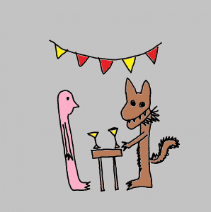 illustration of Highly Sensitive person talking to a wolf at a party table