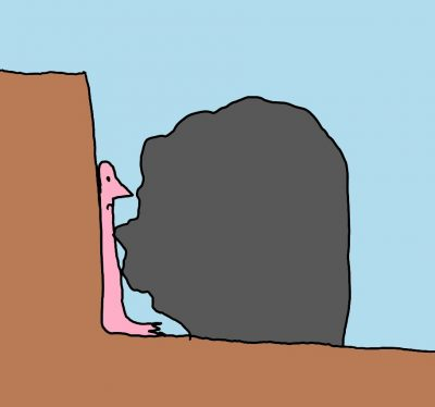 drawing of person stuck between a rock and a hard place