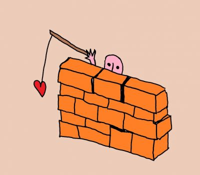 drawing of person hiding behind a wall but fishing for love