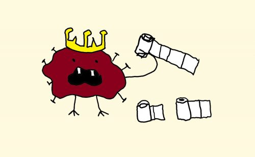 drawing of corona virus with crown eating all the toilet paper