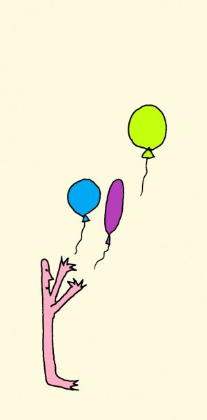 drawing of someone taking steps to let go by releasing balloons