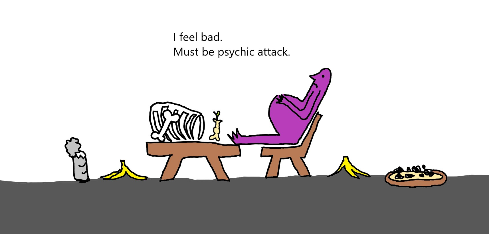 drawing of person who ate too much and thinks they are under psychic attack