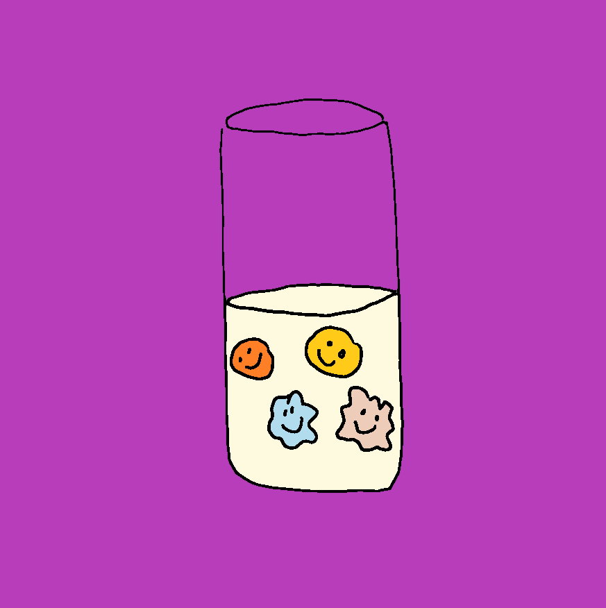 drawing of vegan protein shake with happy ingredients on purple background