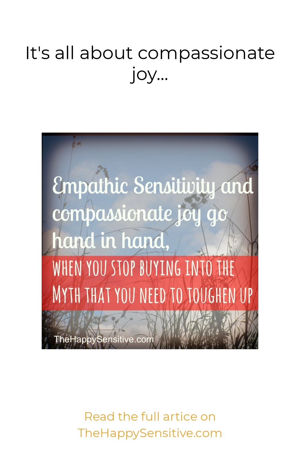 It's all about compassionate joy…