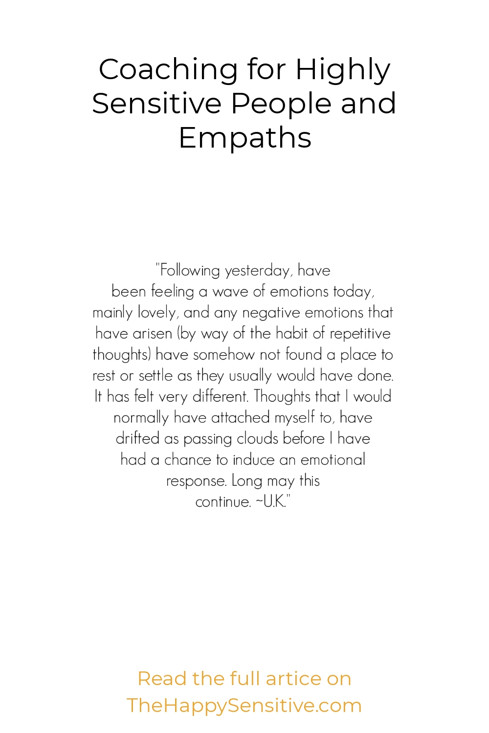 Coaching for Highly Sensitive People and Empaths