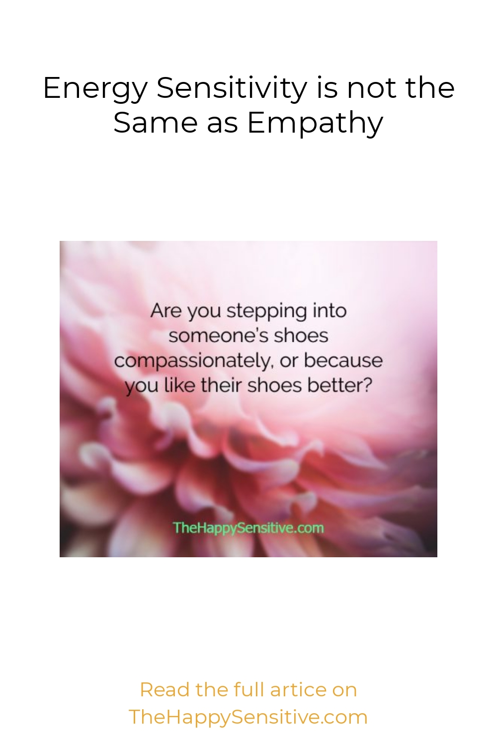 Energy Sensitivity is not the Same as Empathy