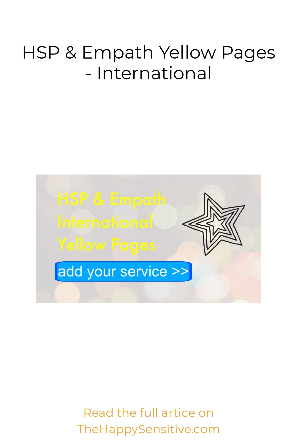 HSP & Empath Yellow Pages – International