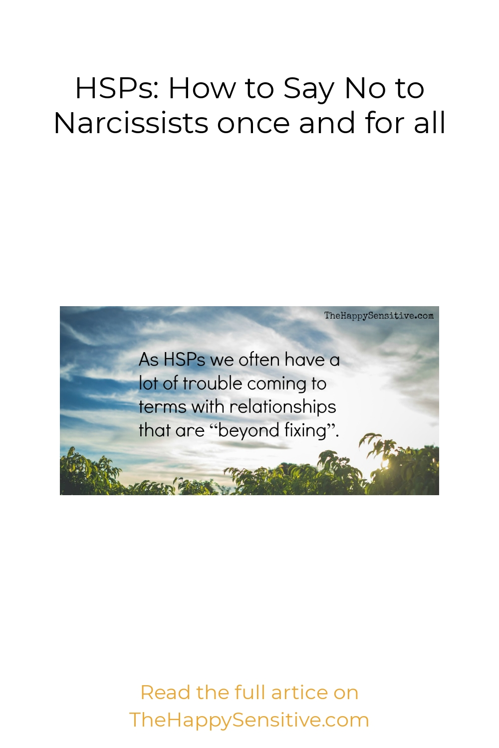 HSPs: How to Say No to Narcissists once and for all